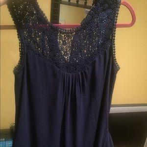Daniel Rainn DR2 Navy Blue Crochet Top Dress, XS